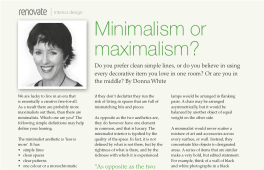 Minimalism or Maximalism - Renovate Magazine Article
